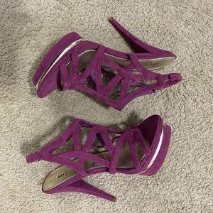 Magenta Strappy Platform Heeled Sandals